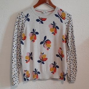 Boden Cotton Floral Polka Dot Sweater S